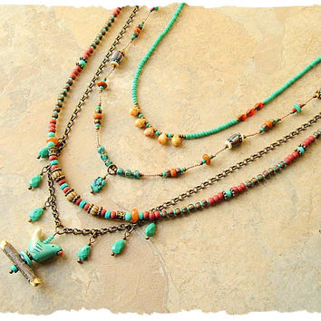 Bohemian Necklace, Bird Lover, Genuine Turquoise, Multiple Strands, Nature Inspired Jewelry, bohostyleme, Kaye Kraus