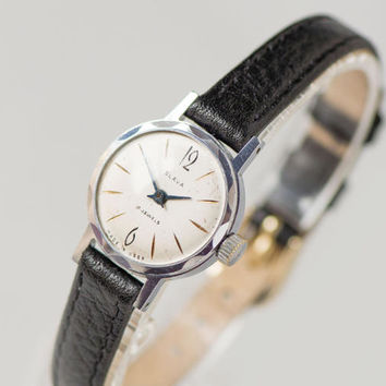 Small lady's watch Glory, petite woman's wristwatch, classy wristwatch, retro woman watch, water protected watch, premium leather strap new
