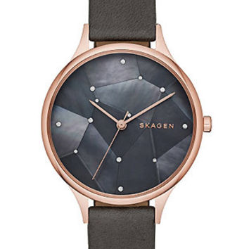 Skagen Womens Starry Starry Night Anita Watch - Rose Tone - Black Leather - MOP
