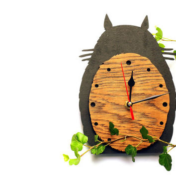 Totoro wooden (Oak) wall clock