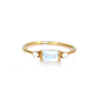 Rainbow Moonstone and Diamond Sky Ring