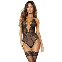 Sexy Nicky Lace And Fishnet Plunge Teddy With Low-cut Back