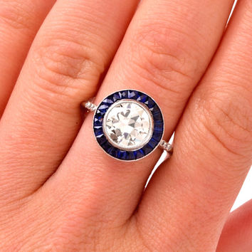 Coming Soon! 2+ Carat Old European Cut Diamond Sapphire Engagement Wedding Ring