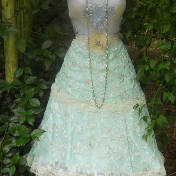 Blue beaded dress lace wedding tiered rose by vintageopulence
