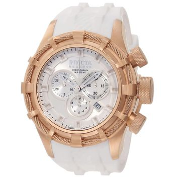 Invicta 11819 Men's Reserve Bolt White Dial Rose Gold Steel Rubber Strap Chronograph Dive Watch