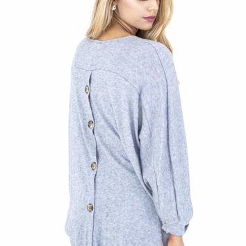 Women's Knit Cocoon Cardigan with Button Back Detail