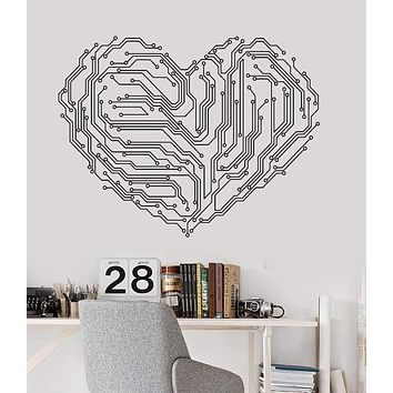 Vinyl Wall Decal Heart Chip Computer Geek Engineer Stickers Mural Unique Gift (122ig)