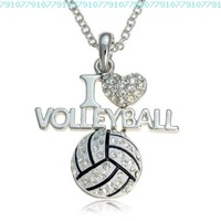 Silvertone Crystal I Love Volleyball Pendant Necklace:Amazon:Jewelry