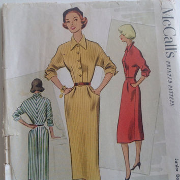 Vintage McCall, Sewing Pattern, Printed, 1951, Dress, Size 13, Mid Century Fashion, Glamour, Junior Daytime Dress