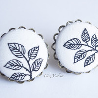 White and Black Fabric Button earrings Leaf Stud Earrings Studs - medium - romantic chic