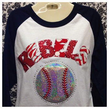Bling 3/4 Sleeve Baseball Custom Mascot Shirt
