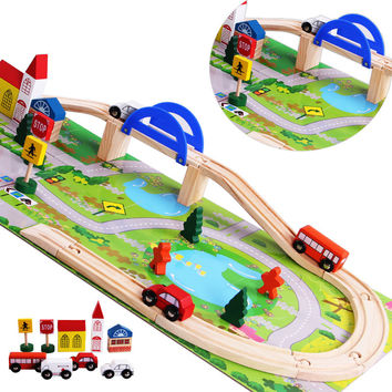2016 Rushed Cars Brinquedos Wooden Children Traffic Rail Toy Disassembling Combination Track Intersection Baby Educational Toys