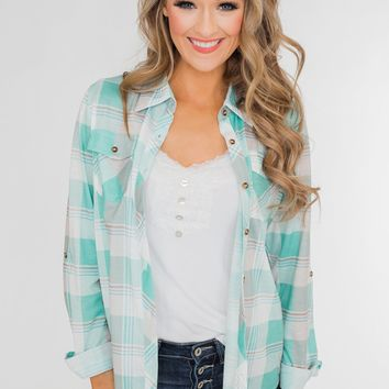 Signals to You Plaid Button-Up Top- Tiffany Blue