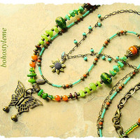 Bohemian Jewelry, Boho Butterfly Pendant, Nature Inspired, Multiple Strand Beaded Necklace, bohostyleme, Kaye Kraus