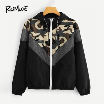 ROMWE Mesh Panel Camo Print Hooded Jackets Zip Up Drawstring Jacket Women Spring Autumn Casual Clothing Female Sporting Coats