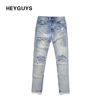 New fashion street men destroyed jeans hole casual pants cool green jeans rock hip hop high quality