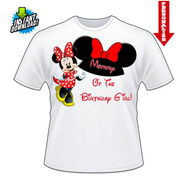 Custom Personlized Minnie Mouse Any Name of the Birthday Girl Printable Digital Iron On Transfer Clip Art DIY Tshirts Instant Download