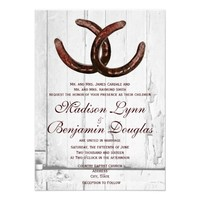 Rustic Horseshoes Country Wood Wedding Invitations