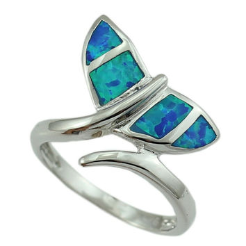 Blue Opal Whale Tail Ring
