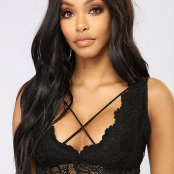 Don't Double Cross Me Bralette - Black