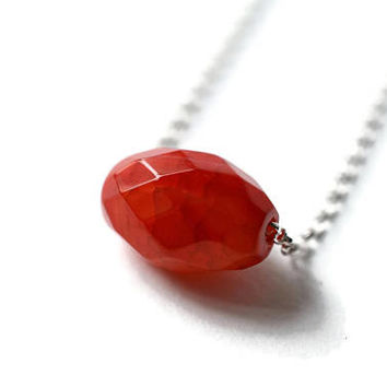 Gemstone Necklace, Red Gemstone, Simple Necklace, Minimal Necklace, Sterling Silver, Dainty Necklace, Layered Necklace, stone pendant, boho