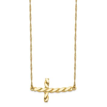 14K Yellow Gold Polished Twisted Sideways Cross 17 inch Necklace 17 Inch
