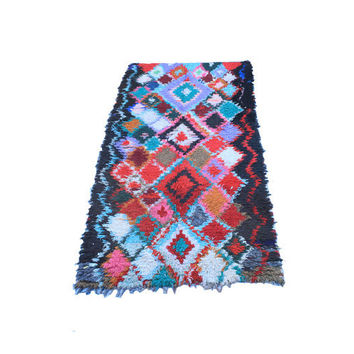 Boucherouite from Morocco. Colorful Modern Wall Art Painting Rug. Mid Century Modern Style. Tribal cubist quilt.