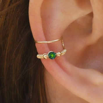 DOUBLE WRAP CUFF, Dark Green Opal Ear Cuff, Ear Cuff, Fake Piercing, No Piercing, Double Cuff, Cartilage Cuff, Cuff