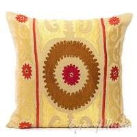 """16"""" Brown Golden Indian Embroidered Toss Throw Pillow Cushion Ethnic India Decor"""