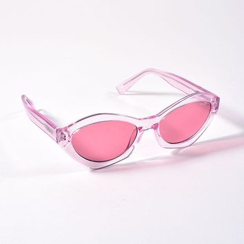 Quay Clear Pink As If Cat Eye Sunglasses