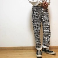 """""""Supreme Hysteric Glamour"""" Unisex Casual Fashion Personality Letter Print Couple Leisure Pants Trousers"""