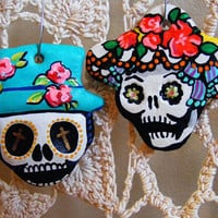 Pair of Handmade Day of the Dead Sugar Skull magnet / ornament - Dia de los Muertos He and She Couple