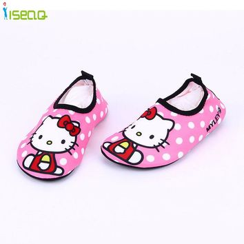 Children's sneakers girls casual swim shoes hello kitty breathable drifting anti-skid skin care shoes cute cartoon beach shoes
