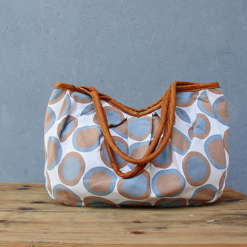 Dotted Linen Bag with Leather details
