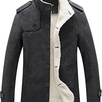 Lacencn Stylish Men's Stand Collar Fur Lined Wool Blend Pea Coat Mutiple Colors