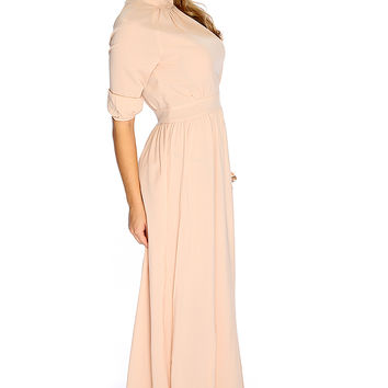 Beige Mock Neck Short Sleeve Causal Maxi Dress
