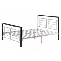 Queen size Metal Platform Bed with Headboard and Footboard in Black Silver Finish