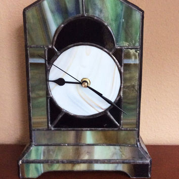 Mantel clock Time Piece, Stained Glass Mantle clocks, Home decor, Desk art, fire place Mantel Clock, Clock