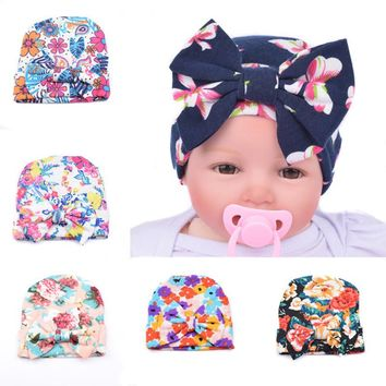 New Design Baby Hats Print Bow Girls Knitted Cap Beanie Soft Cotton Hat Newborn Infant Toddler Hat Winter Warm Caps Accessories
