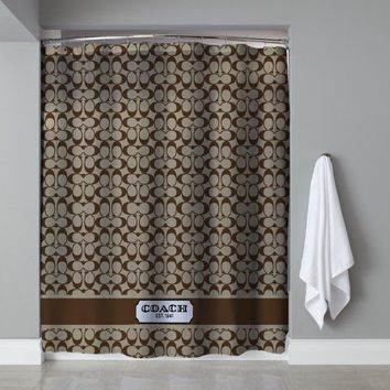 New Arrival Coach Pattern Brown Stripe Custom Shower Curtain Limited Edition