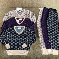gucci women casual fashion knit letter embroidery long sleeve trousers set two piece sportswear