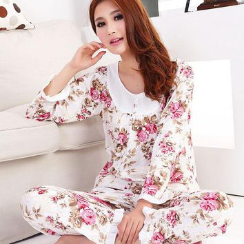 VONEGQ 2015  New women long-sleeve cotton sleep  pajama sets female nightwear lady floral Pyjamas nightgowns  teenage pijamas sleepwear