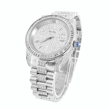 Mens 18K White Gold Steel Simulated Diamond Presidential Watch 41MM