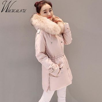 Wmwmnu brand 2017 fur collar winter women jacket coat thick women pink parka jacket faux raccoon collar winter parkas jacket