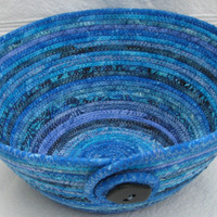 Large Coiled Fabric Bowl/Basket, Blue Batik Bowl