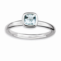 Sterling Silver Stackable Expressions Cushion Cut Aquamarine Ring: RingSize: 7