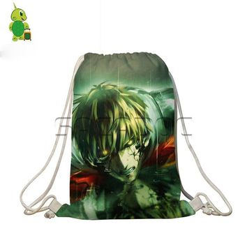 Anime Backpack School kawaii cute One Punch Man Drawstring Bag Students Book Bags Saitama Genos Printed Travel Backpack Women Men Shoes Storage Bags AT_60_4