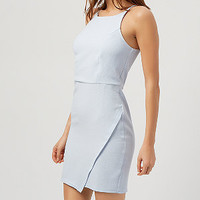 Pale Blue Strappy Wrap Bodycon Dress