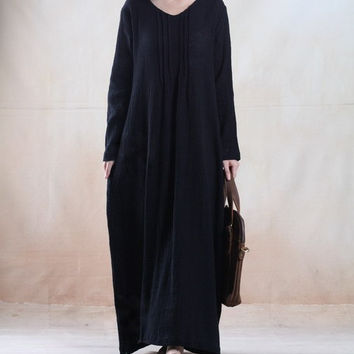 women maxi dress autumn dress linen long sleeve dress loose dress plus size dress