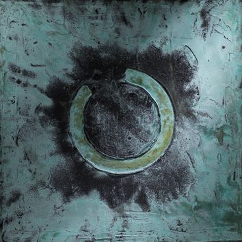"""""""No Title 2"""" Nox, Acrylic with Brass Oxidation on Canvas"""
